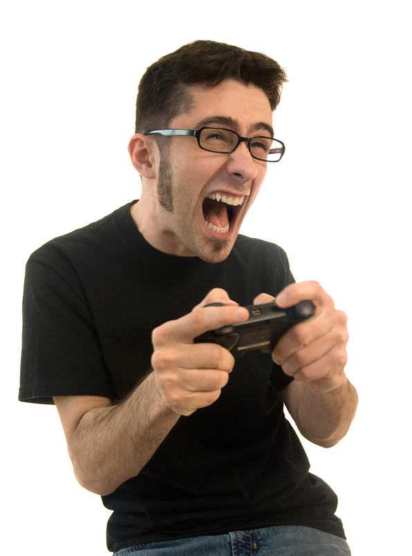 Man playing video games